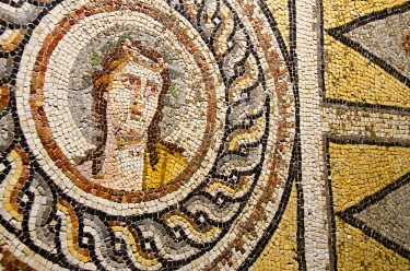 AS37_CMI0468_M Turkey, Southeastern Anatolia, Gaziantep. Zeugma Mosaic Museum. Roman villa mosaics from the ancient city of Zeugma, c.300 B.C. Portrait of Dionysos, c. 2nd-3rd A.D.