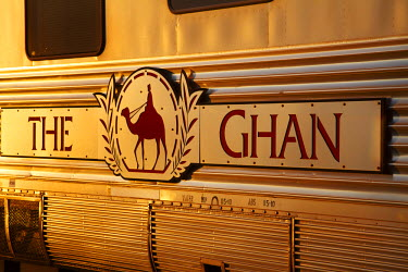 AU01_DWA4511_M Last light on Ghan Train Sign, Katherine, Northern Territory, Australia
