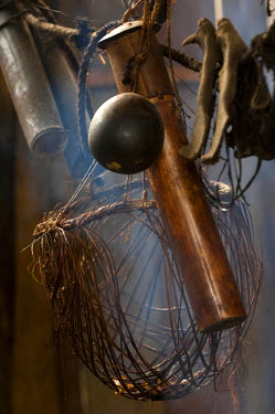 SA07_POX1735_M Huaorani blow dart holder. Made from a piece of bamboo. The darts are coated in Curari which is one of the most effective poisons known to man. Bameno Community. Yasuni National Park. Amazon rainfores...