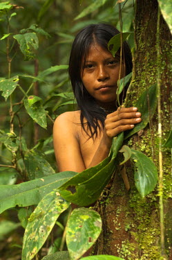 SA07_POX1765_M Huaorani Indian girl - Carmen Kaiga. Gabaro Community. Yasuni National Park.Amazon rainforest, Ecuador.