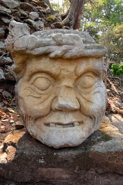 SA12_BBI0017_M Honduras. Copan. Stone carved head in Temple 11of Copan Archeological Site