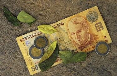 SA17_CBE0013_M Still life of 'nuevo soles', the currency of Peru, and coca leaves. Peru.