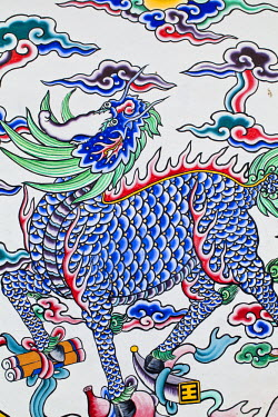 TW01049 Taiwan, Taipei, Painted Chinese unicorn at on wall of Confucius Temple