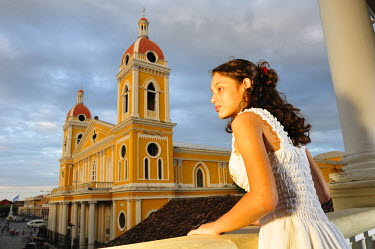 NIC0130AW Portrait of girl with views of Granada, Nicaragua, Central America