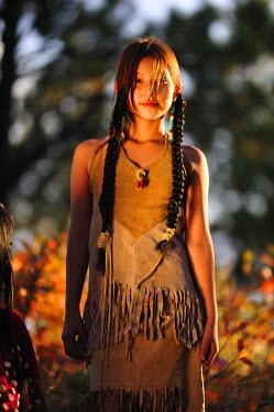 USA8417AW A Young Native Indian Girl, Crow Creek Sioux Tribe, South Dakota, USA MR