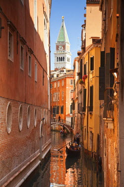 IT01740 St. Mark's Campanile and gondola on canal in Venice, Italy