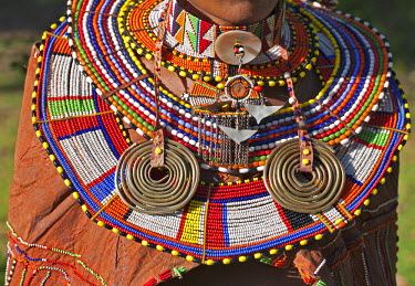 KEN7910 The finery worn by a married Maasai woman.
