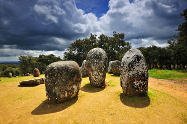 Almendres cromlech, a 8000 years old prehistoric monument. Evora, Portugal