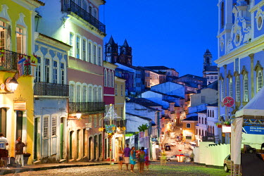 BZ02139 Historic centre at dusk, Pelourinho, Salvador, Bahia, Brazil