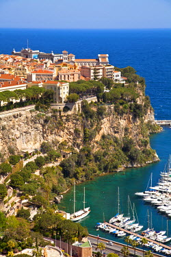 MNC0157 View of Le Rocher and Fontvieille Port, Principality of Monaco, Europe