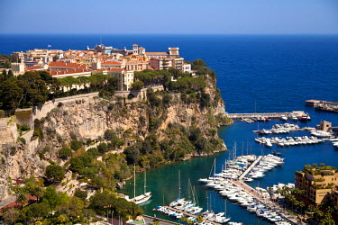 MNC0158 View of Le Rocher and Fontvieille Port, Principality of Monaco, Europe