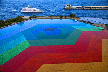 "MNC0171 ""Hexa Grace"" by Victor Vasarely on roof of Auditorium Rainier III, Monte Carlo, Principality of Monaco, Europe"