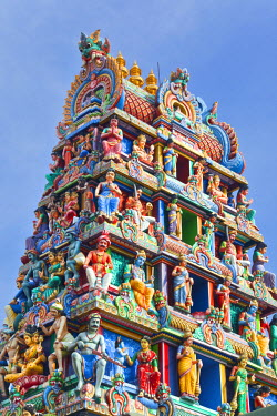 Close up of the Gopuram of the Sri Mariamman Temple in Singapore. A Dravidian style temple in Singapore's Chinatown, Singapore