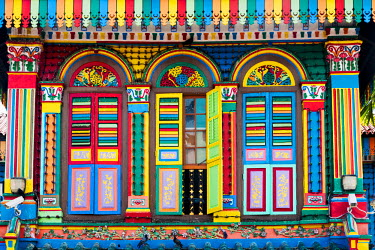 SP01445 Singapore, Little India, Colourful Heritage Villa, once the residence of Tan Teng Niah