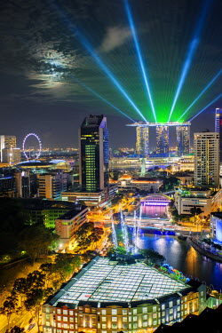 SP01456 Singapore, Elevated view over the Entertainment district of Clarke Quay, the Singapore river and City Skyline