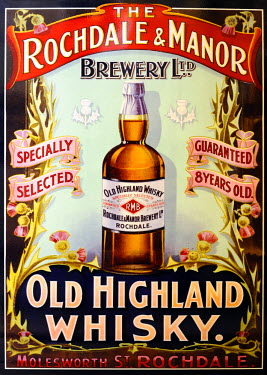ENG10382AW Europe, England, West Yorkshire, Highland Whisky Sign
