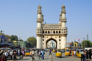 IND6877 India, Andhra Pradesh, Hyderabad. The Charminar, or four minars, is no longer a mosque but remains one of India's best-known buildings.