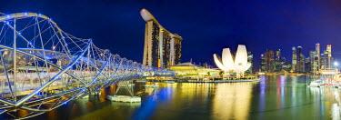 SP01458 The Helix Bridge and Marina Bay Sands, Marina Bay, Singapore