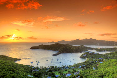 AB01066 Caribbean, Antigua and Barbuda, English Harbour from Shirley's Heights