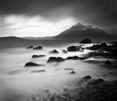 SCO33176AW View from Elgol beach to the Cuillin Hills, Isle of Skye, Scotland, UK