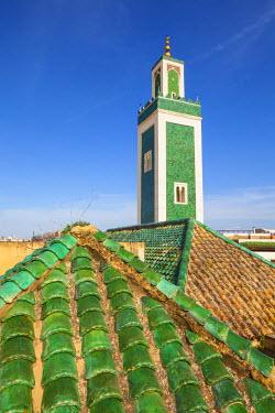 MC02645 Minaret and rooftop, Bou Inania Medersa, Medina, Meknes, Morocco