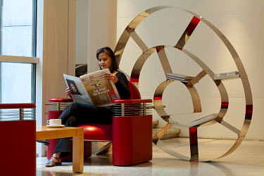 HMS300404 France, Paris, Avenue Kleber, Costes K Hotel, lobby with bookcase made by Ron Arad