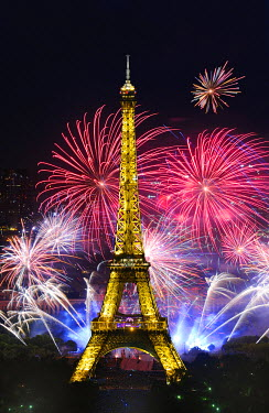 HMS491673 France, Paris, the Eiffel tower illuminated  and the fireworks of the 14th of July