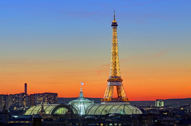 HMS798779 France, Paris, the glass roof of the Grand Palais and the Effel tower