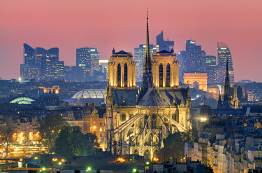 HMS850865 France, Paris, Notre Dame cathedral, the arch of Triumph and la Defense in the background