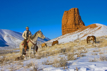 US51TEG0044 USA, Wyoming, Shell, Cowboy riding Heard over his Horses in the Snow. (MR)