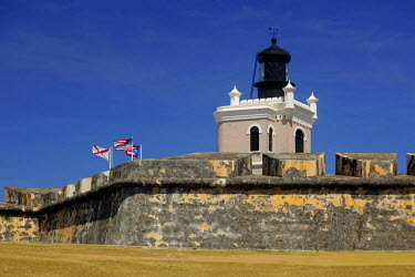 CA27KWI0007 Puerto Rico, San Juan. Lighthouse at El Morro Fort, a UNESCO World Heritage Site.