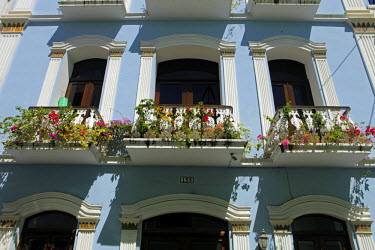 CA27KWI0018 Puerto Rico, San Juan. Facades of Old San Juan architecture of Puerto Rico.
