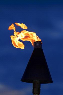 OC01DWA0318 Flame on kerosene lantern, Crusoe's Retreat, Coral Coast, Viti Levu, Fiji, South Pacific