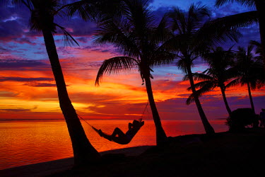 OC01DWA0422 Woman in hammock, and palm trees at sunset, Coral Coast, Viti Levu, Fiji, South Pacific (MR)