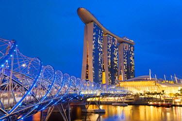 SP01474 Helix bridge & Marina Bay Sands Hotel at dusk, Singapore