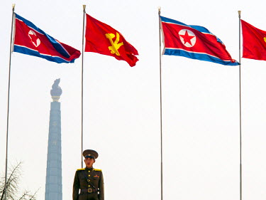 NK01029 Democratic Peoples's Republic of Korea (DPRK), North Korea, Pyongyang, Juche Tower (symbol of the Juche Idea, penned by Kim Il Sung)
