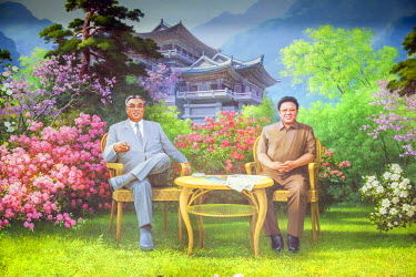 NK01040 Democratic Peoples's Republic of Korea (DPRK), North Korea, painting of the Great Leaders Kim Jong Il and Kim Il Sung