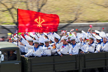 NK01096 Democratic Peoples's Republic of Korea (DPRK), North Korea, Pyongyang, Military parade during street celebrations on the 100th anniversay of the birth of President Kim IL Sung, April 15th 2012