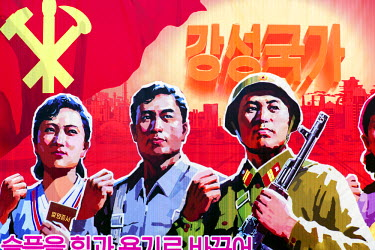 NK01135 Democratic Peoples's Republic of Korea (DPRK), North Korea, Pyongyang, Propaganda poster