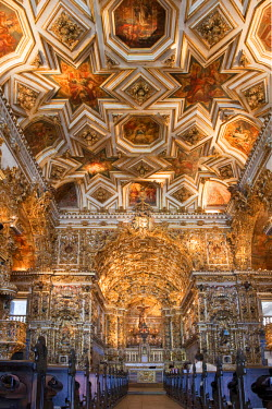BRA0635AW South America, Brazil, Bahia, Salvador, the Portuguese baroque interior of the Church of the Convent of St. Francis off the Pelourinho