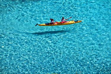 HMS348176 France, Bouches du Rhone, Marseille, european capital of culture 2013, sea kayak in calanque de Sormiou (Sormiou's creek) (Calanques National Park since 2012/04/18)