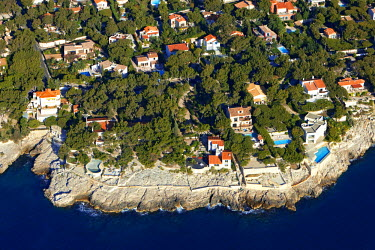 HMS385164 France, Bouches du Rhone, Cassis, private houses on the peninsula of Port Miou (aerial view)