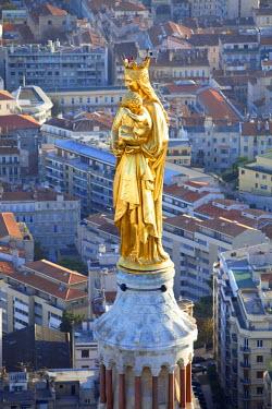 HMS385305 France, Bouches du Rhone, Marseille, european capital of culture 2013, Notre Dame de la Garde basilica (aerial view)
