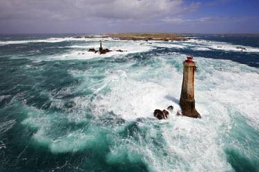 HMS568321 France, Finistere, Iroise Sea, Iles du Ponant, Parc Naturel Regional d'Armorique (Armorica Regional Natural Park), Ile d'Ouessant, Nividic Lighthouse (aerial view)