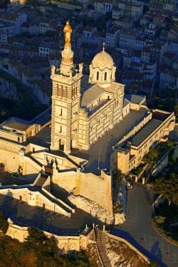 HMS605850 France, Bouches du Rhone, Marseille, european capital of culture 2013, Notre Dame de la Garde (aerial view)