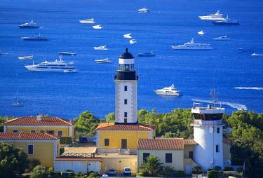 HMS640053 France, Var, Ramatuelle, Saint Tropez peninsula, Cap Camarat, the lighthouse (aerial view)