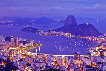 BRA0839AW Brazil, Rio de Janeiro, Sugar Loaf and Morro de Urca in Botafogo Bay in Rio de Janeiro City