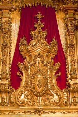BRA0850AW South America, Brazil, Rio de Janeiro state, Rio de Janeiro city, sacred heart in the Blessed Sacrament chapel of the Benedictine Mosteiro Sao Bento church in the old colonial centre of Rio