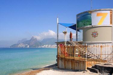 BRA0919AW South America, Rio de Janeiro, Rio de Janeiro city, Ipanema, Posto 7 lifeguard station on Ipanema beach