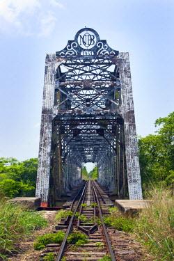 BRA0929AW South America, Brazil, Mato Grosso do Sul, 1930s British girder railway bridge over the Rio Miranda, serving the Pantanal train